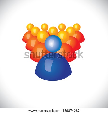 colorful 3d icons or signs of community members & leader graphic. This illustration also represents sports captain & players, winner & losers, political leader & followers, manager, army - stock photo