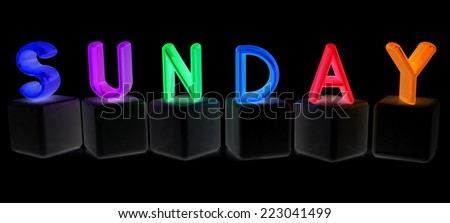 "Colorful 3d letters ""Sunday"" on white cubes on a black background - stock photo"