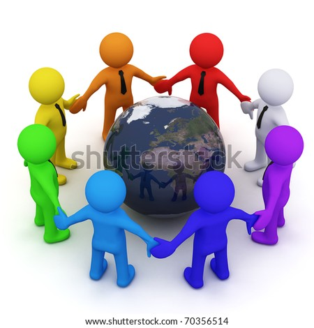 colorful 3D men standing together in circle - stock photo