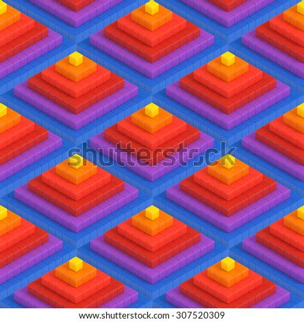 Colorful 3D pyramid boxes background - vibrant  cubes seamless pattern - stock photo