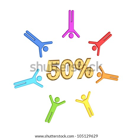 Colorful 3d small people and golden  inscription 50%.Isolated on white background. - stock photo