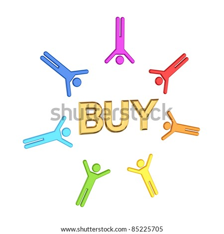 Colorful 3d small people and golden  word BUY.Isolated on white background. - stock photo