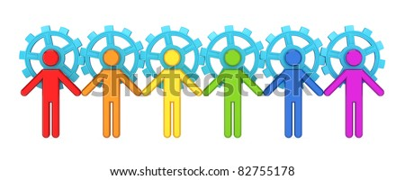 Colorful 3d small people merged with a blue gears. Teamwork concept. 3d rendered. Isolated on white background. - stock photo