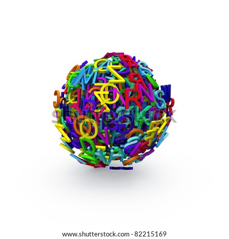 Colorful 3d sphere of letters