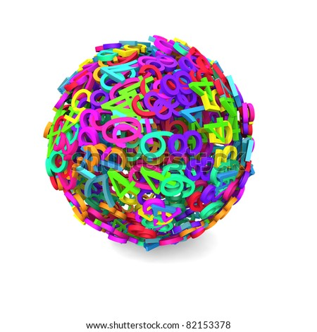 Colorful 3d sphere of numbers - stock photo