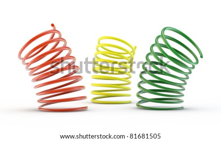 colorful 3d springs - stock photo