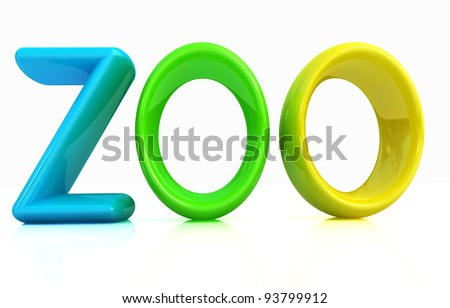 "colorful 3d text ""Zoo"" - stock photo"