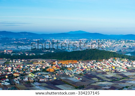 Colorful Dalat city from high view in early morning - stock photo