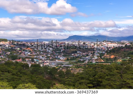 Colorful Dalat city from high view in early morning view from cable car 2300m at robin hill.