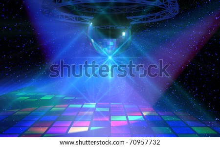 Colorful dance floor with mirror ball - stock photo
