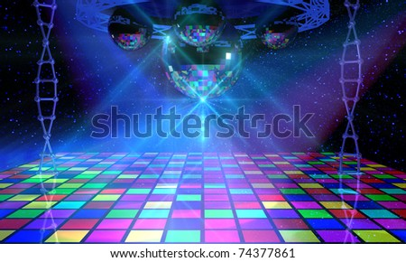 Colorful dance floor with several shining mirror balls - stock photo