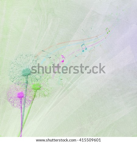colorful dandelion with seedling and musical note on wedding tulle background - stock photo