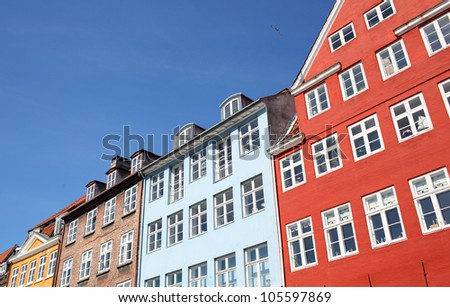 colorful danish houses - stock photo