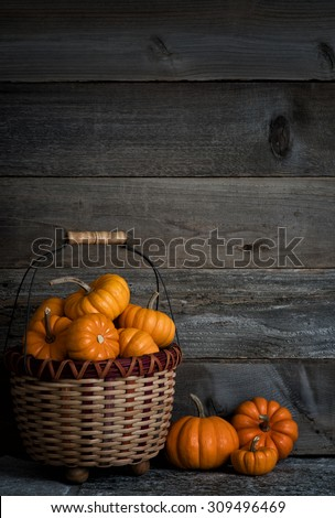 Colorful Dark and Moody Basket Full of Thanksgiving or Halloween, Fall Mini Pumpkins on Stone Floor against Rustic Wood Board Wall Background with room or space for copy, text, words. Vertical