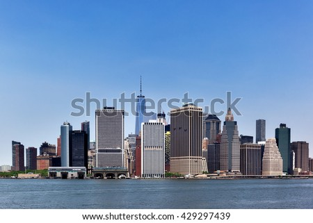 colorful daytime panorama view of the New York City Manhattan - stock photo