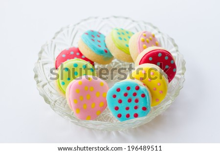 Colorful decorated cookies, close up - stock photo