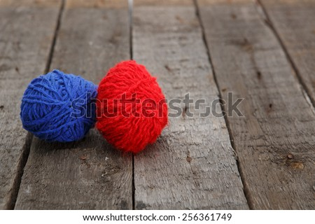 Colorful decorated easter eggs from wool yarn. Happy Easter. - stock photo