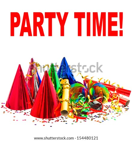 colorful decoration with garlands, streamer, cracker, party glasses and confetti. festive background with sample text PARTY TIME! - stock photo
