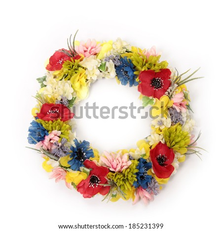 Colorful decorative artificial flowers on white - stock photo