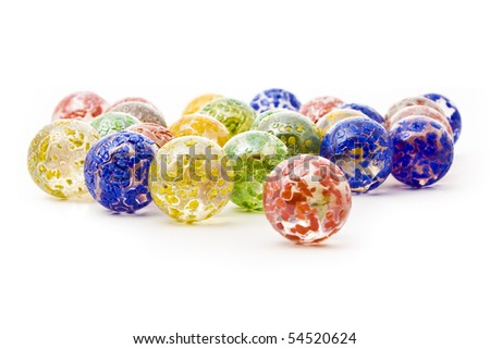 colorful decorative glass balls isolated on white
