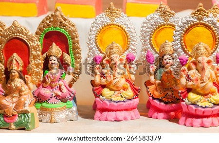 Colorful decorative Goddess Lakshmi and Lord Ganesha in Dewali - stock photo