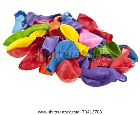 colorful deflated balloons, isolated on white