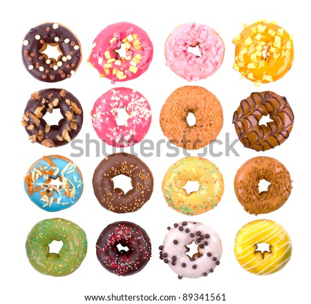 Colorful delicious donuts isolated on white background. - stock photo
