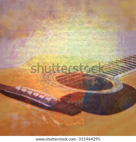 Colorful designed grunge  texture, background with image of guitar for music background or concept - stock photo