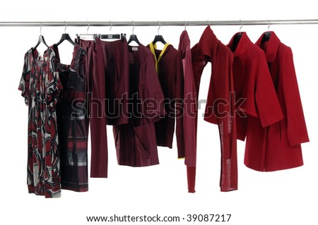 Colorful Designer fashion lined up hangers - stock photo