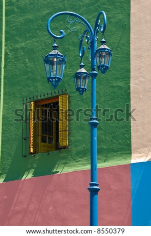 Colorful detail in the neighbourhoud of La Boca, Bueonos Aires, Argentina - stock photo