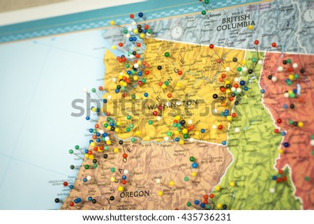 Colorful Detail Map Macro Close Up With Push Pins Marking Locations Throughout The United States Of