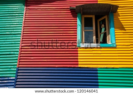 Colorful details of a wall and window in Buenos Aires - stock photo
