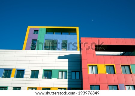Colorful details of modern architecture - stock photo