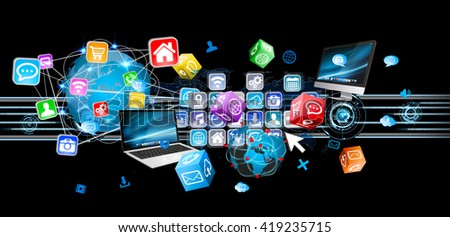 Colorful devices and icons applications interacting with each other '3D illustration' - stock photo