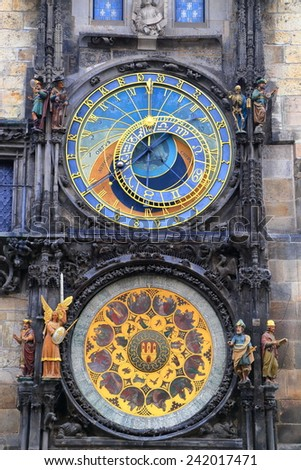 Colorful dials of the Astronomical Clock in Prague Old Town, Czech Republic - stock photo