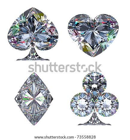 Colorful Diamond shaped Card Suits isolated over white - stock photo