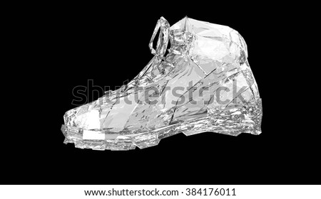 Colorful diamond sports shoes, low poly sneakers with hard edges and shiny faces. Sports fitness achievement metaphor. Isolated 3d rendering.