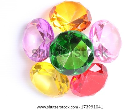 Colorful diamonds on white background