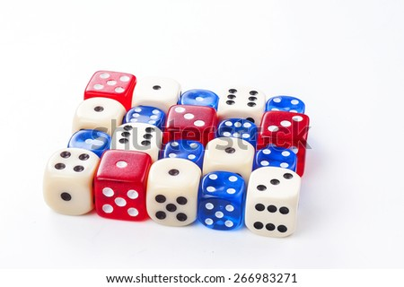 Colorful dice isolated on white - stock photo