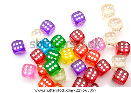 Colorful dice isolated on white. All six. - stock photo