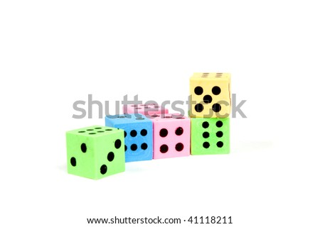 colorful dices isolated on a white background - stock photo