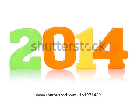 Colorful digits shows year 2014, isolated on white background.
