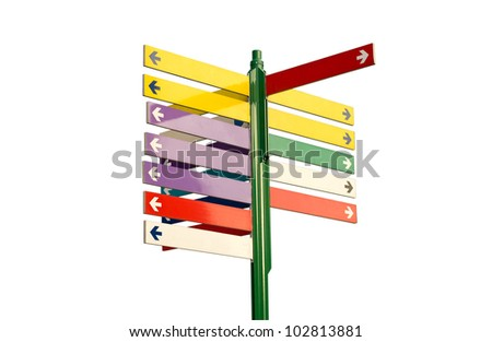 Colorful direction signs  - stock photo