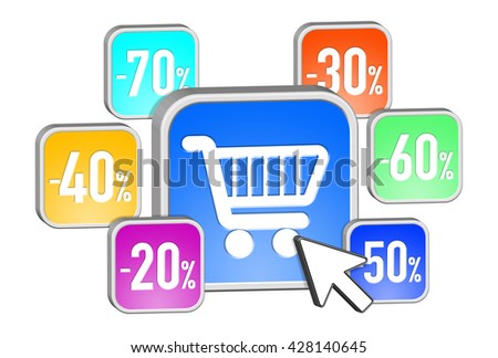Colorful discount icons flying together on white background '3D rendering' - stock photo