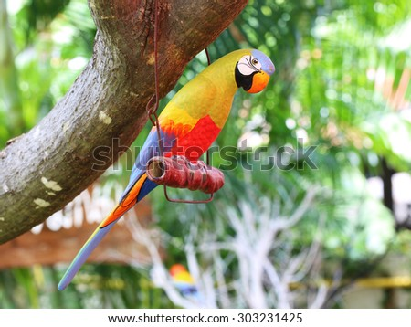 Colorful display of artificial parakeet