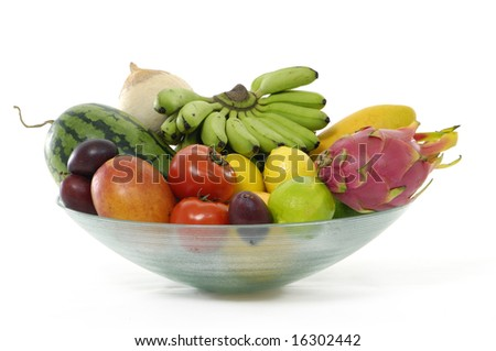 Colorful display of fruit isolated in a bowl
