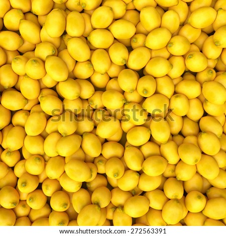 Colorful Display Of Lemons In Market. lemon background - stock photo