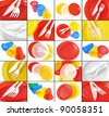 colorful disposable tableware collage - stock photo