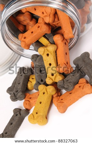 Colorful dog treats spilling from a jar. Festive Halloween colors.