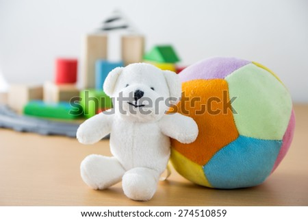Colorful Doll and Toys Collection,Focus is front - stock photo